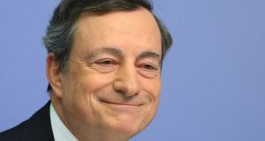Mario Draghi, president of the ECB, has called for more stimulus to strengthen the European economy. Photograph: Krisztian Bocsi/Bloomberg