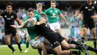 Robbie Henshaw scores the  try that clinched Ireland's victory at Soldier Field. Photograph: Billy Stickland/Inpho