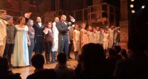 "In this image made from a video provided by Hamilton LLC actor Brandon Victor Dixon who plays Arron Burr,  in ""Hamilton"" speaks from the stage to Mike Pence after the curtain call in New York on Friday. Photograph: Hamilton LLC via AP"
