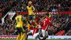 Oliver Giroud's late header gave Arsenal a point at Old Trafford. Photograph:Reuters/Phil Noble