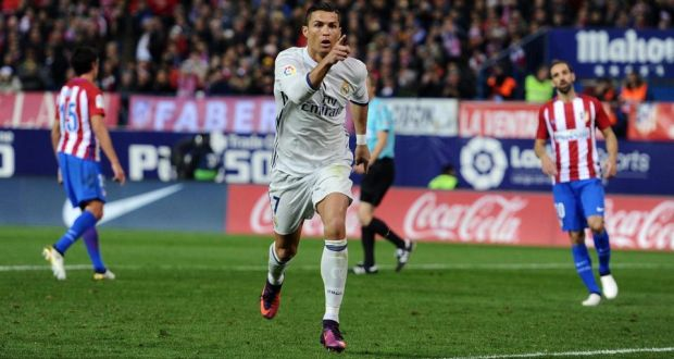 b3b0a4b3db6 Cristiano Ronaldo celebrates after scoring Real Madrid s second goal during  the La Liga match against Atletico