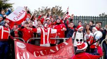 Cuala fans get behind their team at Netwatch Cullen Park. Photograph: Tommy Dickson/Inpho
