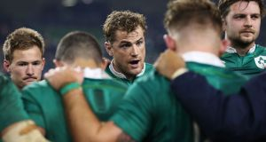 "Jamie Heaslip (centre) speaks to the players after Ireland's defeat to the All Blacks in the  Aviva Stadium, Dublin. ""There's no point looking back. The game is over. They won."" Photograph: Brian Lawless/PA Wire."