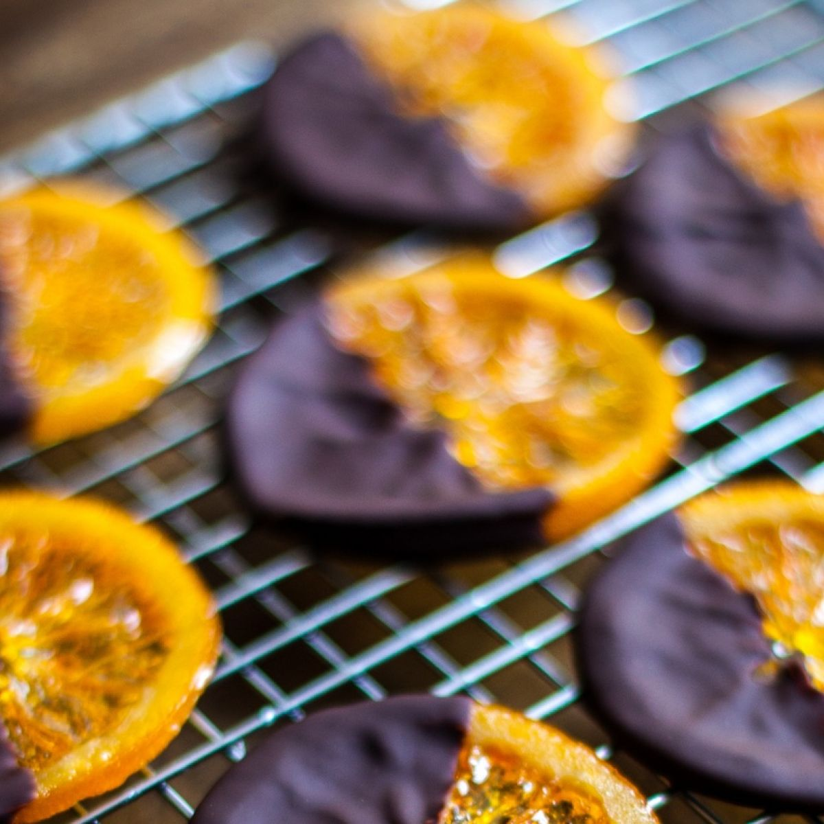 Chocolate dipped candied oranges with sea salt