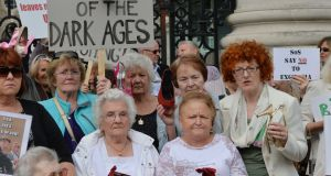 Members and supporters of Survivors of Symphysiotomy (SOS) at Government Buildings in 2014. Photograph: Alan Betson