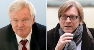 David Davis (left) and Guy Verhofstadt: Their meeting was described as 'constructive'. Photograph:   PA Wire