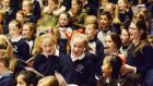School children enjoying themselves during the Musical Adventure by RTE National Symphony Orchestra at the National Concert Hall where children from eight to twelve were introduced to the workings of the orchestra. Photograph: Cyril Byrne/The Irish Times