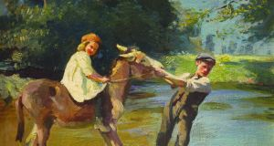 Taking the Donkey Through the Water, by English artist Harold Harvey, depicts an idyllic countryside scene, and is estimated at €8,000-€12,000.