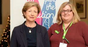 Olivia O'Leary with Margo O'Donnell-Roche, co ordinator Áras Folláin, who also attended  the conference. Photograph: Cyril Byrne