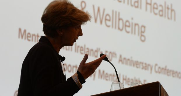 Broadcaster and journalist  Olivia O'Leary speaking at the Mental Health Ireland/Europe conference at the Royal Marine Hotel, Dún Laoghaire. Photograph: Cyril Byrne