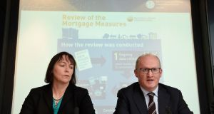 Deputy Governor of the Central Bank Sharon Donnery and Governor Philip  Lane announce first-time buyers will now require a 10 per cent deposit when applying for a home loan, regardless of the price of the property . Photograph: Clodagh Kilcoyne/Reuters