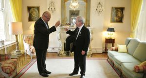 French ambassador Jean-Pierre Thébault (left) toasts John Banville after he was named as a Knight in the  Ordre des Arts et Lettres at a reception in the French embassy in Dublin. Photograph: Aidan Crawley