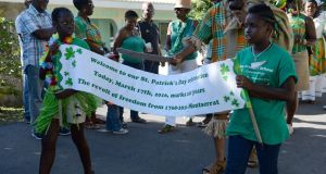 The St Patrick's Day parade at Salem, Montserrat, West Indies.  Stewart Parker's play drew parallels between Northern Ireland and the legacy of the British Empire there. Photograph: Frank Miller