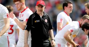 "Mickey Harte: ""We had a lot of our players without an Ulster championship medal and until you achieve that, that's still to be done."" Photograph: Ryan Byrne/Inpho"