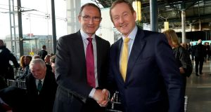 Martin O'Neill with Taoiseach Enda Kenny at Thursday's Euro 2020 logo launch. Photograph: James Crombie/Inpho