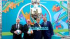 Uefa's Frantisek Laurinec, Cllr Dermot Lacey, Taoiseach Enda Kenny and FAI chief executive John Delaney at the launch of the Euro 2020 Dublin brand on Thursday. Photograph: James Crombie/Inpho
