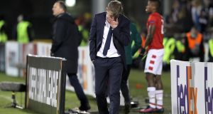Dundalk manager Stephen Kenny was dejected following his side's 1-0 defeat to AZ Alkmaar. Photograph: Morgan Treacy/Inpho.