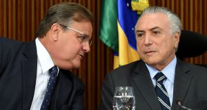 Brazil's president Michel Temer (right) with Geddel Vieira Lima, who has resigned as government chief secretary. Photograph: Evaristo Sa/AFP/Getty Images