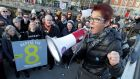 Ailbhe Smyth speaking at the Women Rising 2016 rally on Rosie Hackett bridge, Dublin, on Friday. Photograph: Mark Stedman