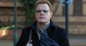 Eddie Izzard arrives at West London Magistrates court in London today for the trial of Jamie Penny, charged with harassing the comedian. Photograph: Philip Toscano/PA Wire