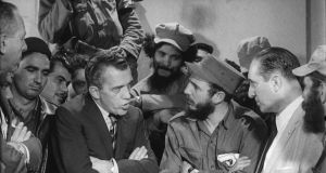 American variety show host Ed Sullivan interviews Cuban Communist leader and president Fidel Castro amid a group of uniformed revolutionaries on a taped segment from the CBS television prgram 'The Ed Sullivan Show', Havana, Cuba, January 11, 1959. Photograph:  Photo Archives/Getty Images