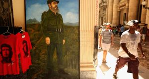 A painted portrait of former Cuban President Fidel Castro stands in the doorway of a museum in the old part of the city August 13, 2015 in Havana, Cuba. Photograph: Chip Somodevilla/Getty Images