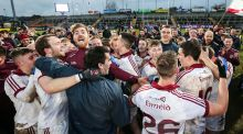 The Slaughtneil panel celebrate their Ulster final triumph. Photograph: Inpho