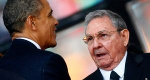 US president Barack Obama  and Cuban president Raul Castro. The death of Fidel Castro will push US-Cuban relations to the top of Donald Trump's foreign policy in-tray. Photograph: Kai Pfaffenbach/Reuters