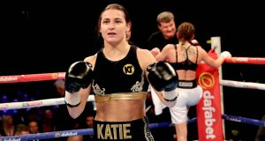 Katie Taylor celebrates her win at the SSE Arena, Wembley, London. Photograph: ©INPHO/Ryan Byrne
