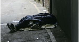 Homeless people sleeping rough off Grafton Street in Dublin city centre. Photograph: Bryan O'Brien