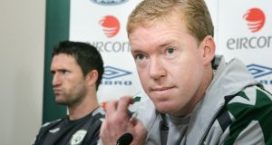 Photograph: Steve Staunton with Robbie Keane at a Croke Park press conference. Photograph: Cyril Byrne