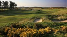 The green on the par 5, 18th hole at Dundonald Links in Irvine, Scotland. Photograph: David Cannon/Getty Images