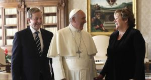 Pope Francis with Taoiseach Enda Kenny and his wife Fionnuala during a private audience at the Vatican. Photograph: EPA