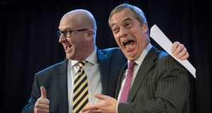Paul Nuttall (left) is congratulated by Nigel Farage after he was announced as the new Ukip leader at the Emmanuel Centre in Westminster, London. Photograph: Stefan Rousseau/PA Wire
