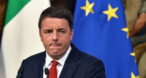 Italian prime minister Matteo Renzi.  Up to eight of the country's banks could face pressure if he steps down from office should he lose next weekend's constitutional referendum