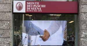 Banca Monte dei Paschi di Siena was suspended for excessive volatility after a drop of more than 12%. Photograph: Alessia Pierdomenico/Bloomberg