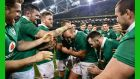 One of Ireland's stalwarts Rory Best is congratulated on his 100th cap by his team mates following the win over Australia. Photograph:  Dan Mullan/Getty Images
