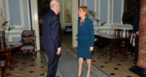 Minster for Foreign Affairs Charlie Flanagan and the Scottish first minister Nicola Sturgeon at Iveagh House, Dublin. Photograph: Eric Luke