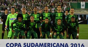 Brazil's Chapecoense players pose during their 2016 Copa Sudamericana semifinal on November 23rd. Photograph: Nelson Daniel/Getty Images