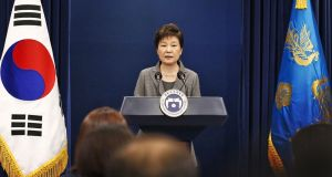 South Korean president Park Geun-hye makes a live televised address in Seoul, on Tuesday. Photograph: AP