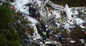 Wreckage from the plane that crashed into Colombian jungle with Brazilian soccer team Chapecoense. Photograph: Raul Arboleda/AFP/Getty Images