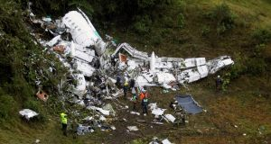 Wreckage from the plane that crashed into Colombian jungle with Brazilian soccer team Chapecoense. Photograph: Fredy Builes/Reuters