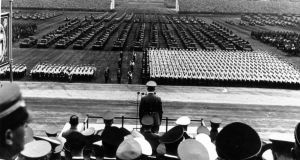 Adolf Hitler addressing a military parade at a Nazi Party Congress in Nuremberg. Xenophobia and nationalism are  coursing through the world's veins. Photograph: Hulton Archive