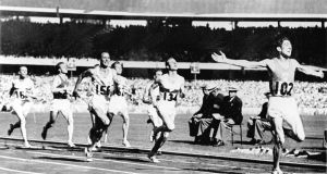 Ronnie Delany winning the 1,500 metres gold medal at the 1956 Melbourne Olympic Games. Photograph: IOC/Allsport