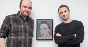 Gerry Davis (left), the 2016 Hennessy Portrait Prize winner,  with sitter Sean Guinan. Photo: Anthony Woods