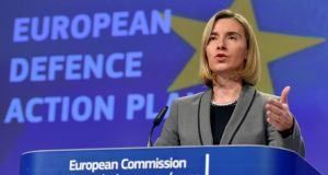 European Union foreign policy chief Federica Mogherini: The  Defence Action Plan encourages member states to invest more in military security as anxiety  grows in  Baltic states about the threat of Russian aggression. Photograph: Eric Vidal/Reuters