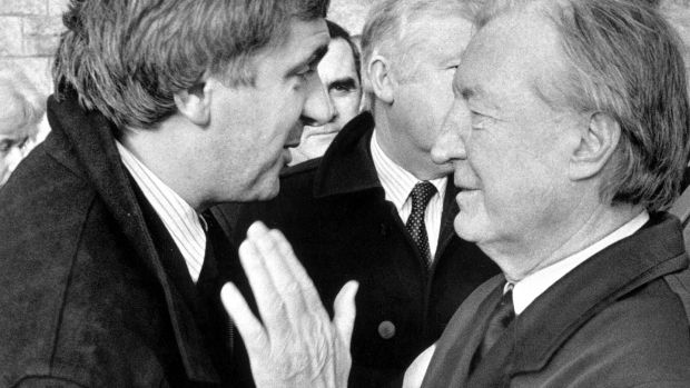 Charles Haughey offers his condolences to the Bertie Ahern after requiem mass for Mr Ahern's father Con Ahern in December 1990. Photograph: Frank Miller