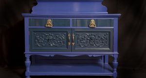 Vibrant vintage: 1940s handcarved sideboard painted in midnight blue and bruised blue from Benedictandbeatrice Furniture
