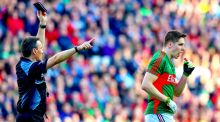 Referee Maurice Deegan black cards Lee Keegan in this year's Dublin-Mayo All-Ireland football final. Photograph: James Crombie/Inpho