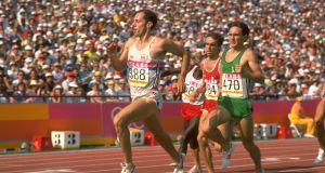 Marcus O'Sullivan, right, battles it out with  Steve Ovett  of Great Britain  during the 1500 Metres  at the 1984 Olympic Games in Los Angeles.  Photograph:  Tony Duffy/Allsport